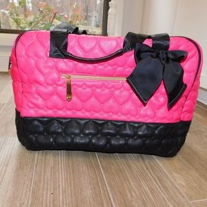 Betsey Johnson large pink and black bag heart
